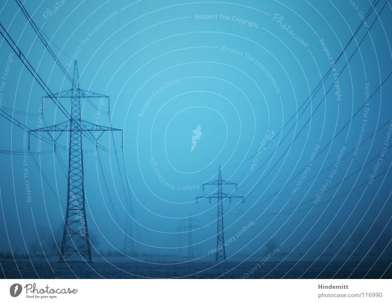#50 brothers Electricity pylon Fog Tree Bushes Dark Field Hoar frost Winter Autumn Black High voltage power line Energy crisis Heavy Character Industry Bright