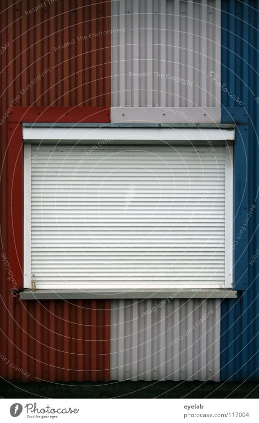 WINDOWS IN FRENCH II Window Sleep Dark Closed Wall (building) Building Tin Roller blind Safety France Stripe Fashioned Multicoloured Vertical Derelict