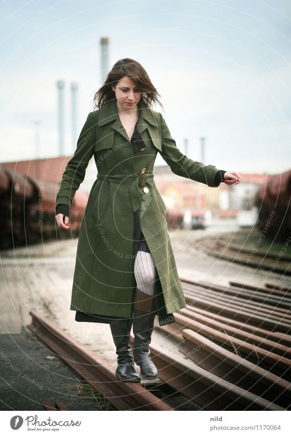 balance Lifestyle Elegant Style Human being Feminine Young woman Youth (Young adults) 1 18 - 30 years Adults Town Industrial plant Train station Rail transport