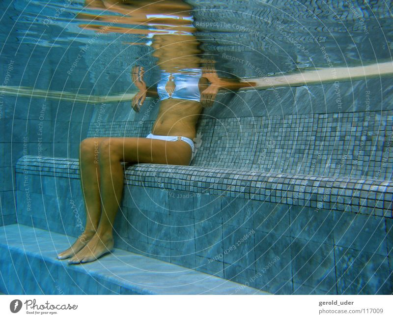 Woman Water Underwater photo Blue Summer Cold Relaxation Healthy Sit Swimming pool Tile Bikini Flow Cooling Spa