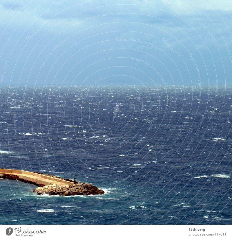 sea view Ocean Waves Sardinia Infinity Far-off places Gale Europe Water Mediterranean sea Castelsardo flood protection wall Blue Looking