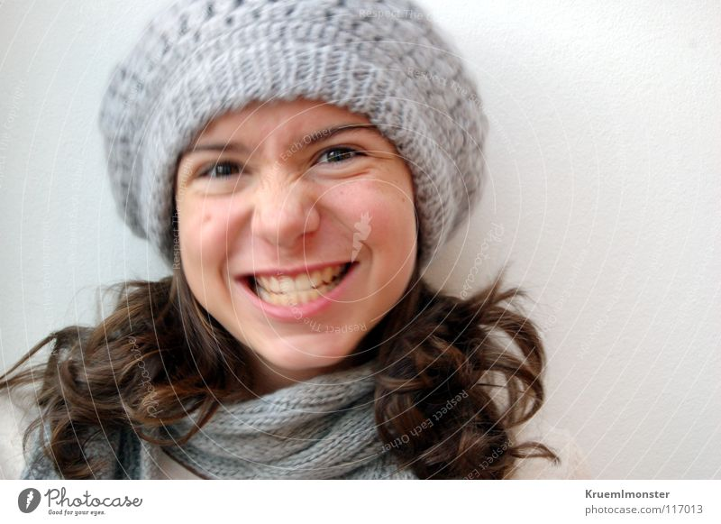Yes no, is kla' Cramped Cap Laughter brood balloon cap Girl Face of a woman Portrait photograph Grinning Grimace Partially visible Isolated Image Cute Brash