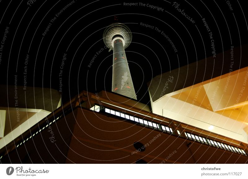 alexanderplatz Alexanderplatz Night shot Transmitting station Berlin Light Landmark Monument Beautiful Contrast Capital city Germany Berlin TV Tower GDR