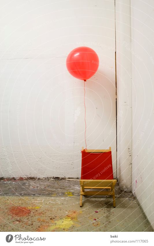 White Red Yellow Colour Art Flying Balloon Deckchair Helium Arts and crafts  Patch of colour Inflated Chained up