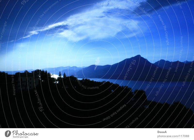 Nature Clouds Mountain Lake Italy Blue sky Lake Garda