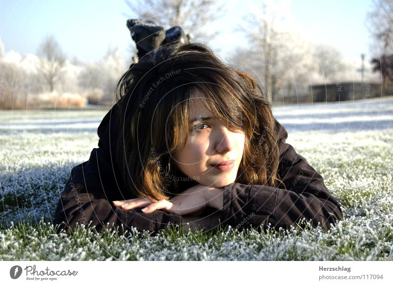 to be frozen Cold White Winter Meadow Park Snow Nakia portait Eyes Nose Skin Hair and hairstyles