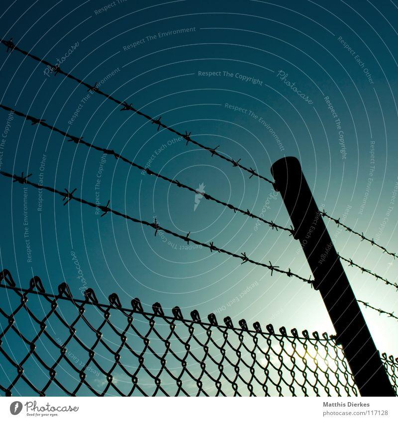 Sky Sun Blue Fear Industry Dangerous Threat Anger Derelict Border Fence GDR War Captured Barrier Panic