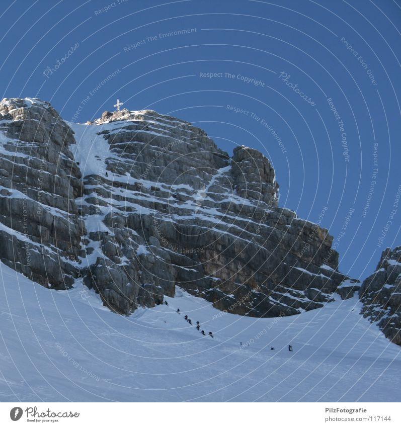 Sky Blue White Winter Black Landscape Snow Mountain Above Stone Brown Rock Back Hiking Multiple Dangerous