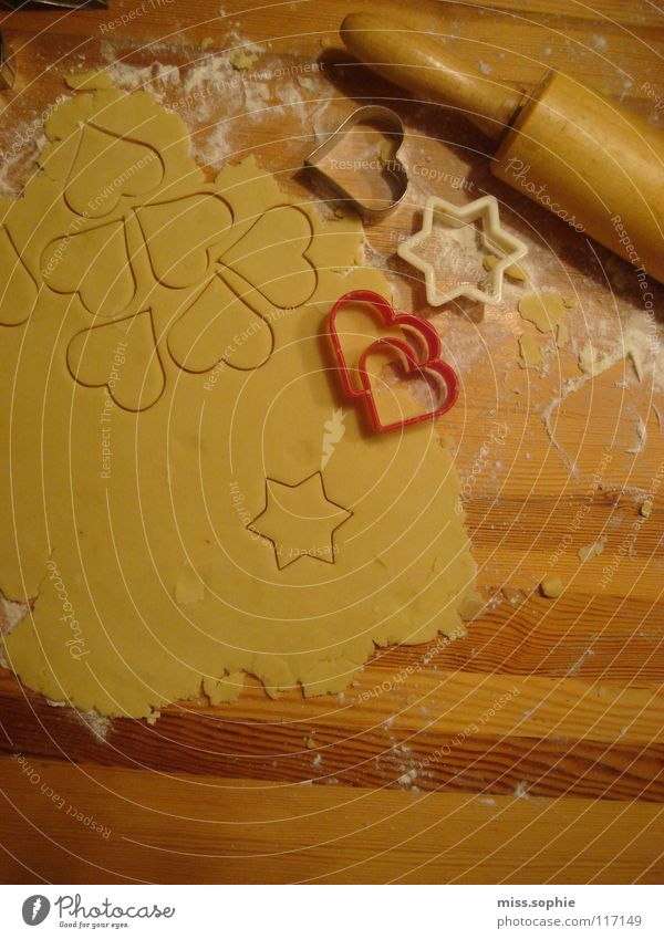 Christmas & Advent Love Wood Nutrition Heart Cooking & Baking Sweet Star (Symbol) Delicious Cake Baked goods Dough Attempt Alluring Cookie Flour