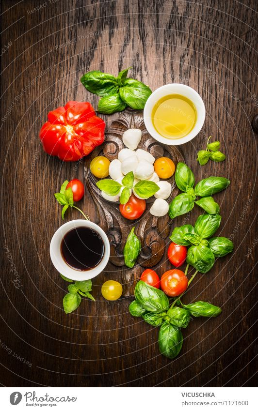 Italian cuisine - tomatoes mozzarella salad prepare Food Cheese Dairy Products Vegetable Lettuce Salad Herbs and spices Cooking oil Nutrition Lunch Buffet