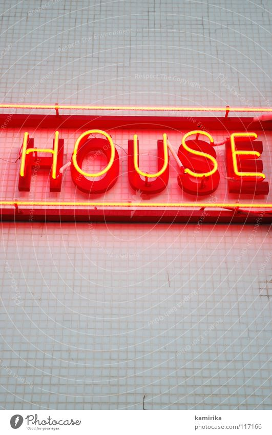 house House (Residential Structure) Techno Electronic Loud Handbill Neon sign Advertising Flow Wall (building) Red Heading Club Party Clubbing Double bass Dance
