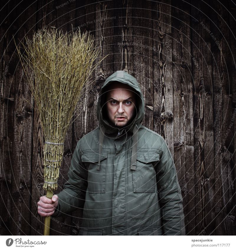 Tomorrow the forest will be swept! Man Portrait photograph Freak Wall (building) Wood Winter Cold Broom Sweep Work and employment Cleaning Evil Ferocious Joy