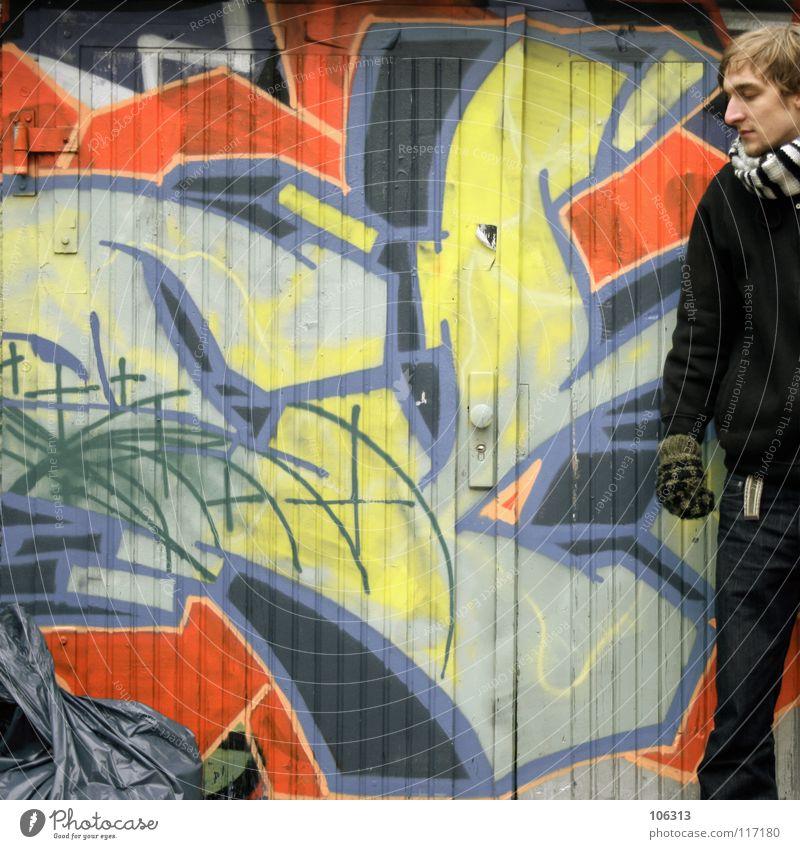 Human being Man City Cold Wall (building) Graffiti Art Dirty Masculine Stand Culture Trash Dresden Trashy Quarter Scarf