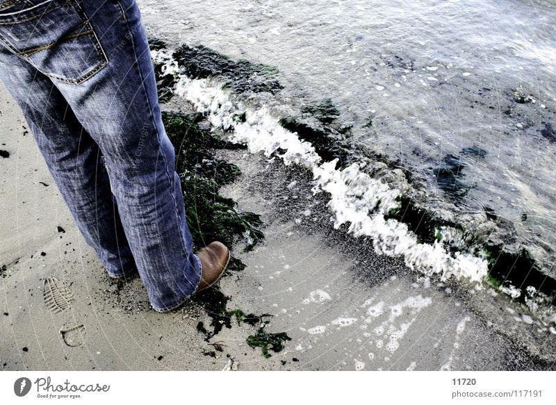 Ocean Lake Sand Legs Waves Jeans Boots Foam Netherlands Algae High tide Low tide Current Grain of sand