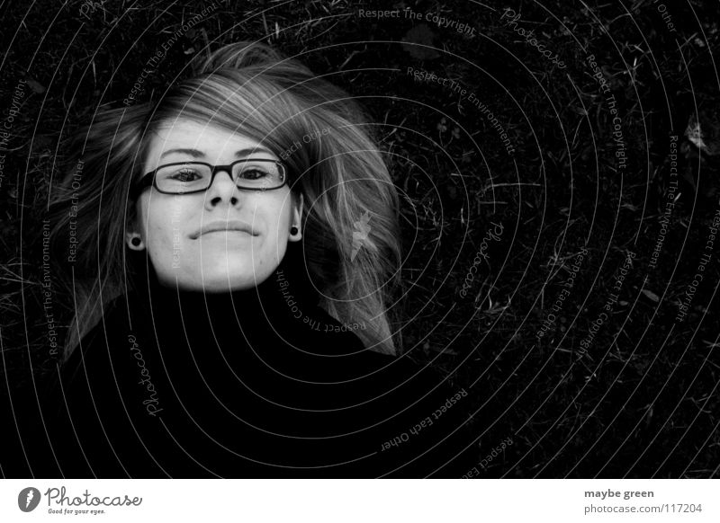 apparent death Black White Woman Scarf Eyeglasses Grass Meadow Part Calm Black & white photo blodded Earring Mouth Nose Eyes jessica Hair and hairstyles Glass