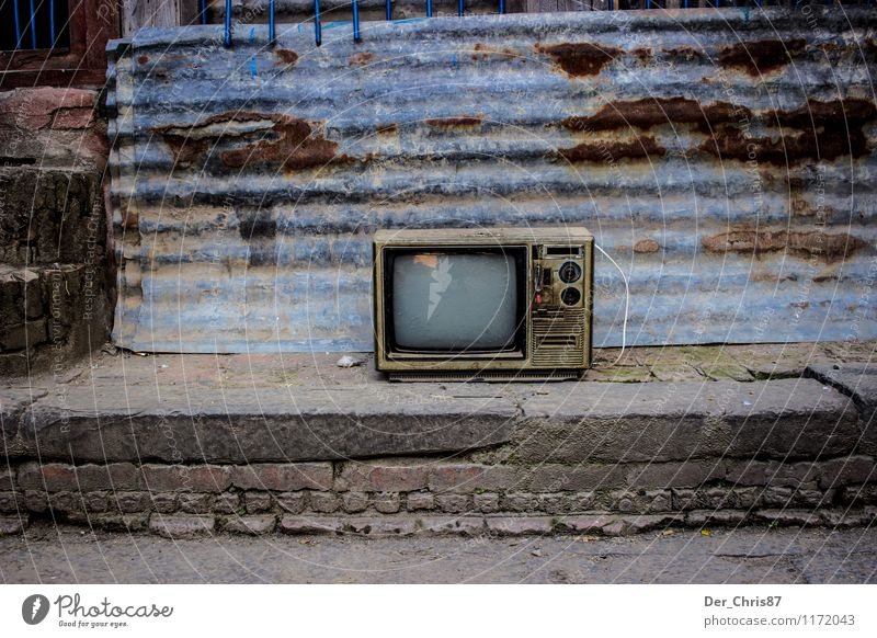 Antique TV in the streets of Kathmandu TV set Nepal Asia Deserted Wall (barrier) Wall (building) Old Poverty Dirty Dark Emotions Moody Sadness Slum area Ghetto