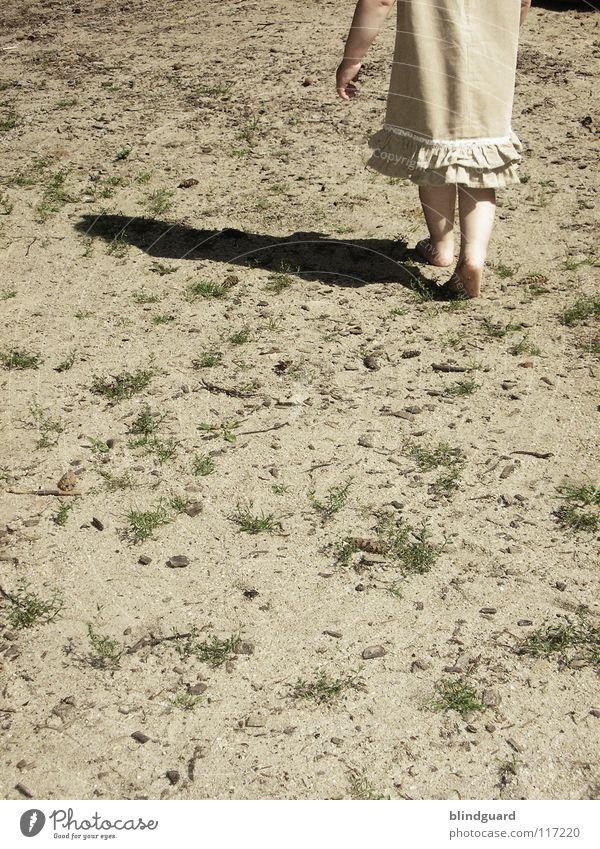 I'm gonna go. Child Blonde Girl Barefoot Dress Wood Search Playground Summer Physics Events Playing Children's game Pastime Kindergarten Child-friendly Future