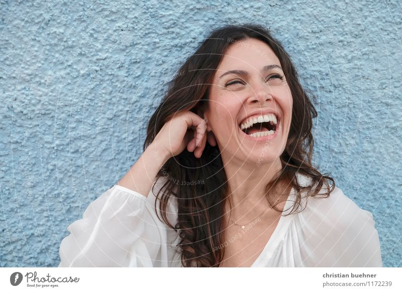 laughing Woman Adults 1 Human being 30 - 45 years Artist Laughter Authentic Happiness Fresh Healthy Happy Natural Positive Joie de vivre (Vitality) Spring fever