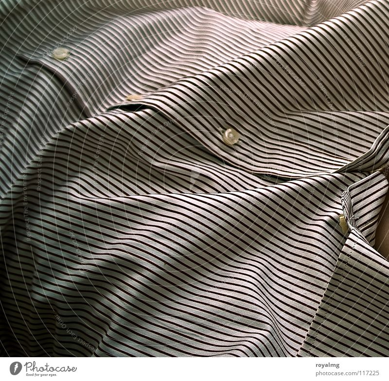 Man White Line Brown Glittering Skin Stripe Cloth Wrinkles Shirt Buttons