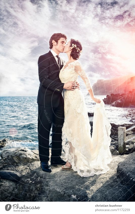 Human being Woman Man Beautiful Summer Ocean Clouds Adults Love Happy Elegant Authentic Wedding Kitsch Futurism Kissing