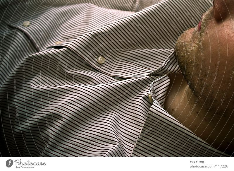 come... Man Facial hair Chin Shirt Stripe Brown White Upper body Glittering Cloth Buttons Lips Face Skin Line Wrinkles