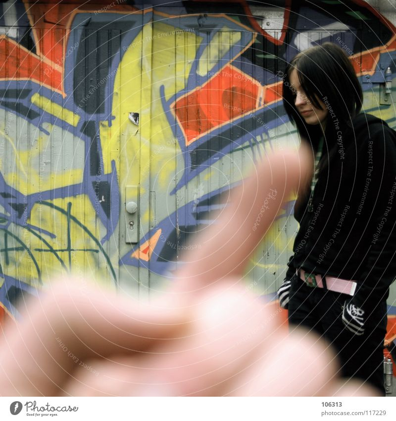 Human being Woman Colour Red Black Cold Wall (building) Graffiti Feminine Dirty Stand Wait Fingers Touch Level Delicate