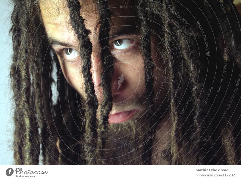 MUST Dreadlocks Felt Long Dark Upper body Upper arm Vessel Man Masculine Strong Threat Shoulder Concealed Nerviness Light Visual spectacle Shadow play Hand