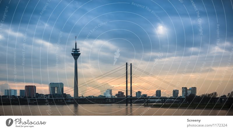 Düsseldorf Skyline Clouds Sunrise Sunset River Rhine Duesseldorf Federal eagle Town Downtown High-rise Bridge Tower Manmade structures Building Architecture