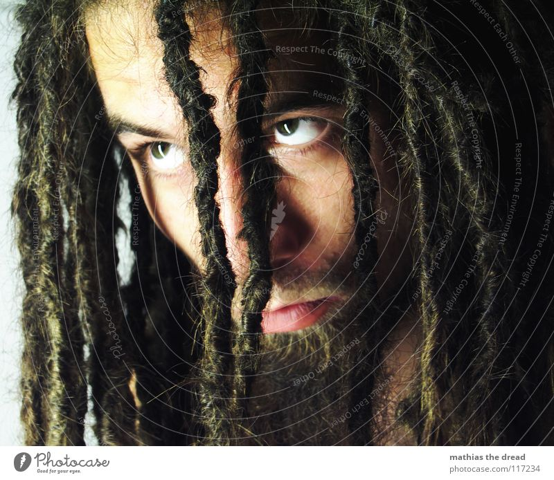 Human being Man Face Eyes Dark Emotions Hair and hairstyles Bright Power Fear Skin Masculine Dangerous Threat Anger Long