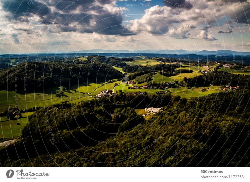 Green Styria from above Summer Summer vacation Nature Landscape Storm clouds Sunlight Beautiful weather Meadow Field Forest Hill Federal State of Styria Austria