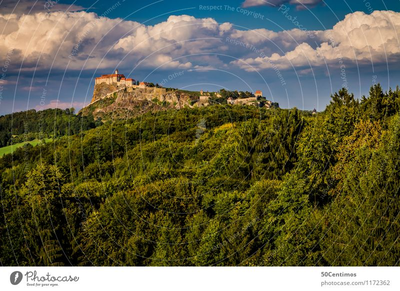 Riegersburg on the edge of the forest Vacation & Travel Tourism Trip Summer Mountain Nature Landscape Clouds Beautiful weather Forest Federal State of Styria