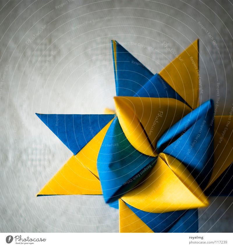Christmas & Advent Blue Yellow Paper Star (Symbol) Anger Craft (trade) Blanket Sweden Aggravation Handicraft Culture
