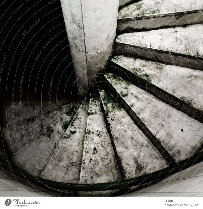 Access to the Underworld Objective Descent Go up Dark Downward Hell Wet Pure Slippery surface Smoothness Spiral Eerie Winding staircase Detail Fear Panic