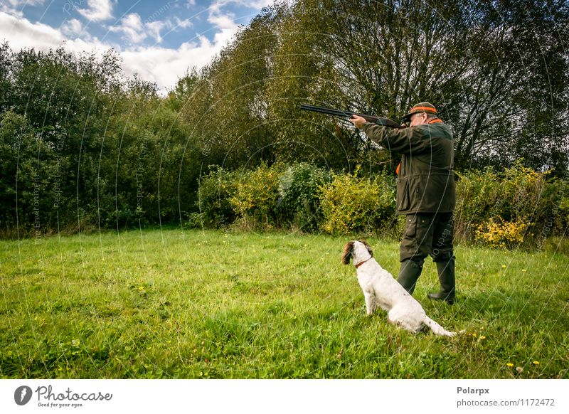 Hunter with a rifle Leisure and hobbies Playing Hunting Sports Human being Man Adults Nature Landscape Autumn Meadow Jacket Dog Wild Concentrate Scandinavia