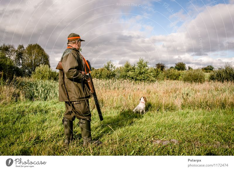Senior male hunting with dog Human being Dog Nature Man Relaxation Landscape Calm Adults Senior citizen Meadow Autumn Grass Natural Masculine Wild Leisure and hobbies