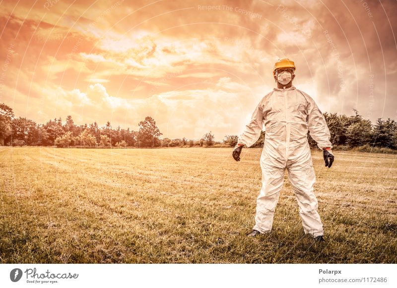 Chemist on a field Science & Research Work and employment Profession Industry Human being Man Adults Nature Clouds Grass Suit Gloves Stand Strong Yellow Safety