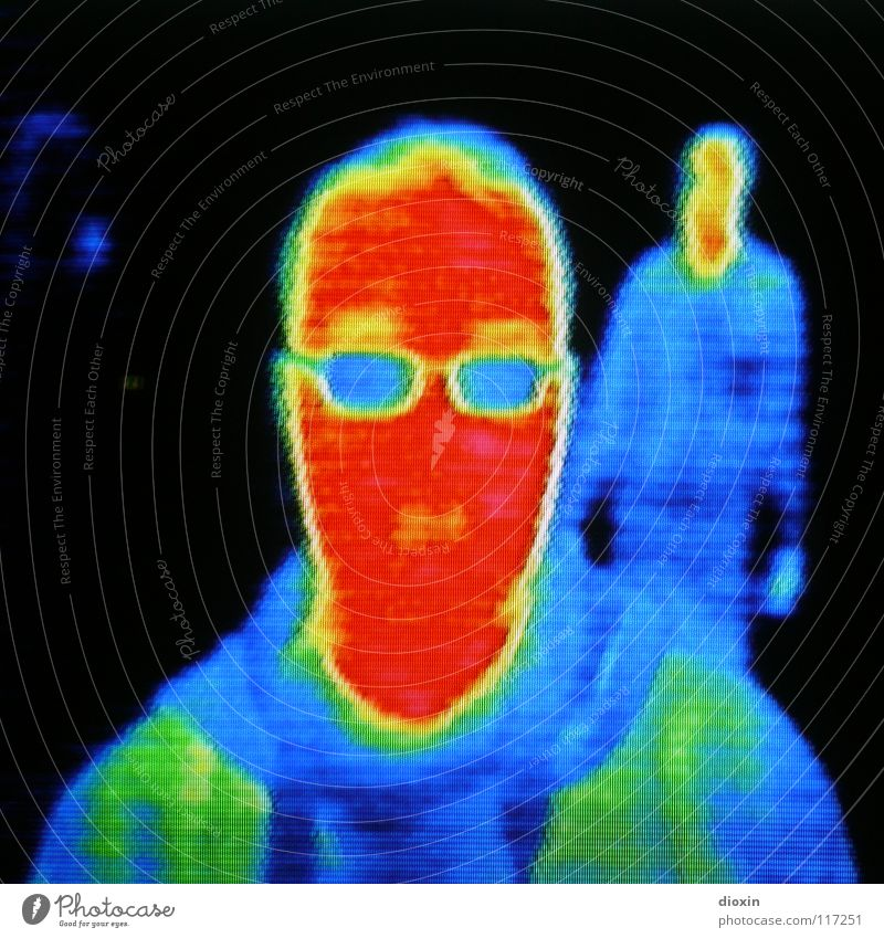 Me & The Heat #1 Colour photo Multicoloured Experimental Artificial light Light Portrait photograph Looking Looking into the camera Science & Research