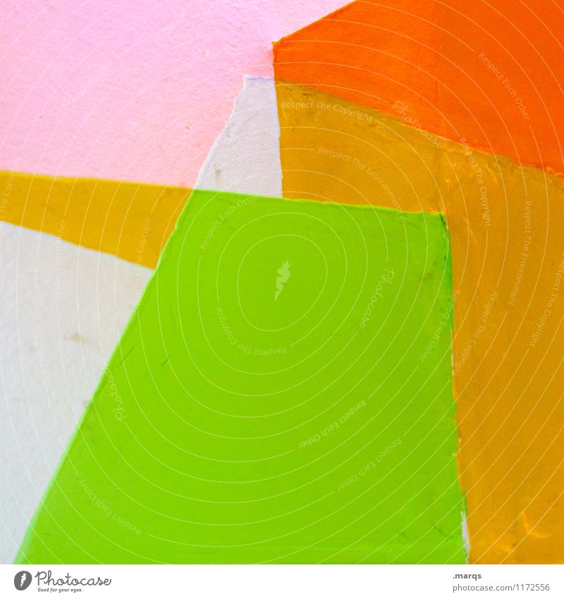 Green White Wall (building) Style Wall (barrier) Background picture Lifestyle Line Pink Orange Design Elegant Illustration Hip & trendy Sharp-edged Minimalistic
