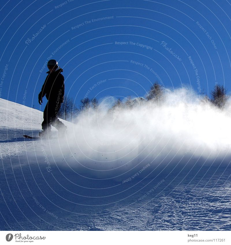 Sky Vacation & Travel Blue Winter Snow Sports Jump Leisure and hobbies Copy Space Austria Blue sky Snowboard Winter sports Swirl Funsport Ski run