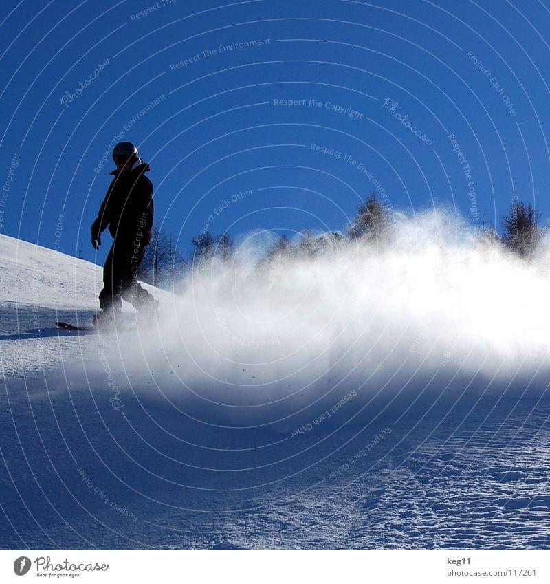 Sky Vacation & Travel Blue Winter Snow Sports Jump Leisure and hobbies Copy Space Austria Blue sky Snowboard Winter sports Swirl Funsport Ski run
