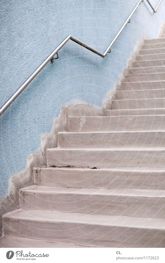 staircase Wall (barrier) Wall (building) Stairs Banister Sharp-edged Blue Gray Perspective Lanes & trails Target Colour photo Exterior shot Deserted Day