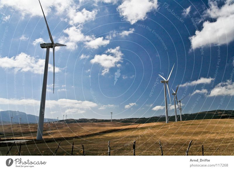 Nature Sky White Clouds Meadow Landscape Air Field Wind Horizon Industry Energy industry Electricity Future Wind energy plant