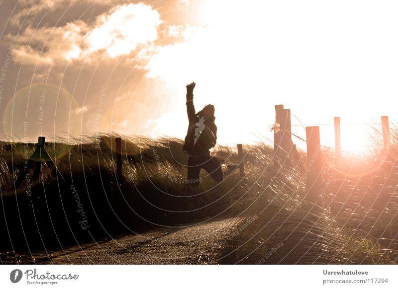 Pure pleasures jump Joy Jump Photographer Horizon Sunlight Light Back-light Beach Ocean Going Bag Clouds Magic Netherlands Den Haag Contentment Laughter