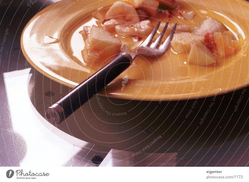 Obschtsalat Fork Plate Still Life Light Reflection Afternoon Slowly Nutrition Fruit