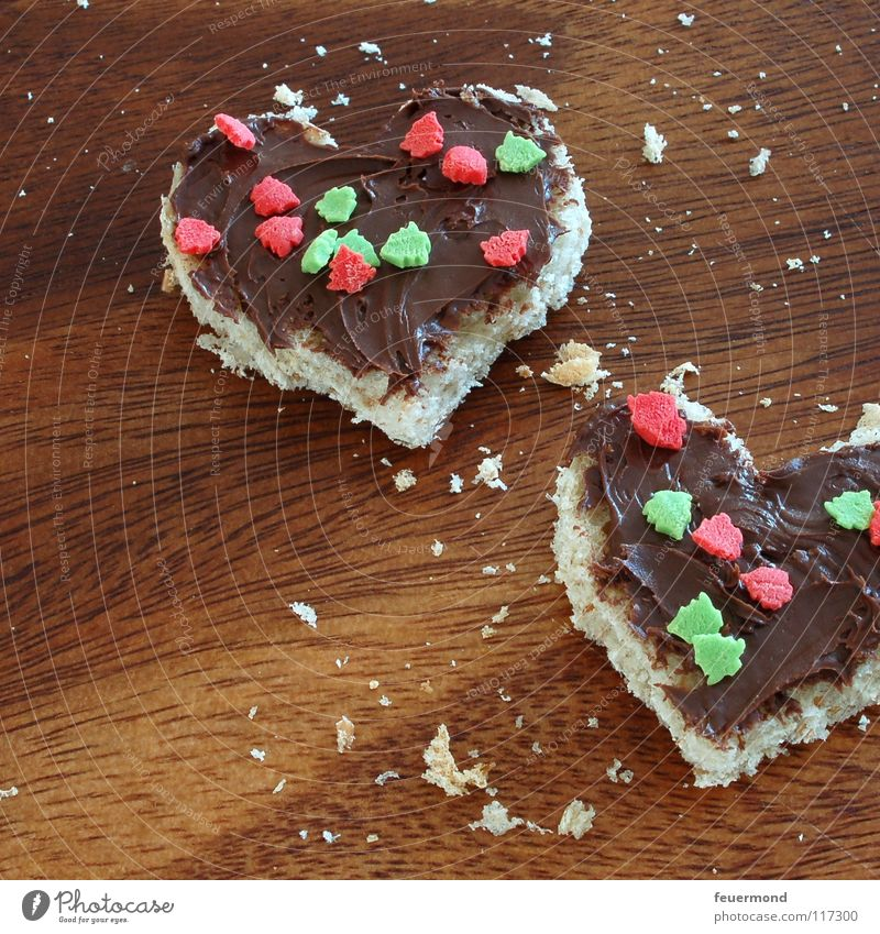 Nut Nougat Cream Heart Nut spread Chocolate Roll Feed Meal Brunch Delicious Granules Sweet Chopping board Dinner Nutrition nougat Appetite Love Dish crumb