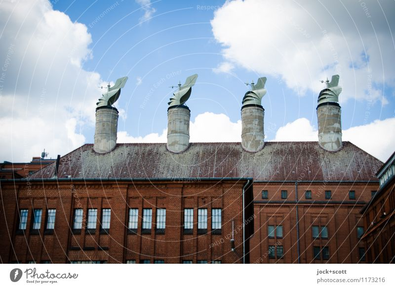 Wind for chimneys Arts and crafts Airport Berlin-Tempelhof Factory Roof Chimney Exceptional Historic Retro Orderliness Testing & Control Planning Subdued colour