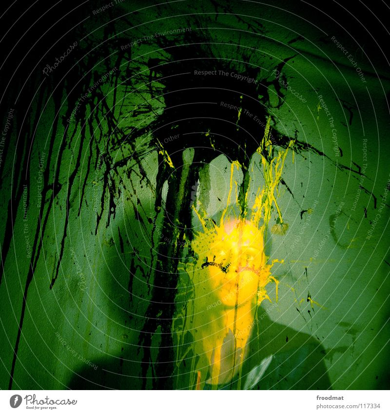 Woman Green Face Yellow Colour Dark Wall (building) Germany Dirty Creepy Square Decline Transparent Ghosts & Spectres  Patch Phenomenon