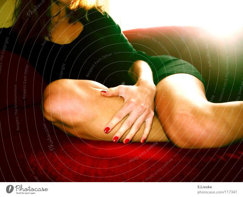 red Red Sofa Woman Dress Light Fingernail Black Transience Legs