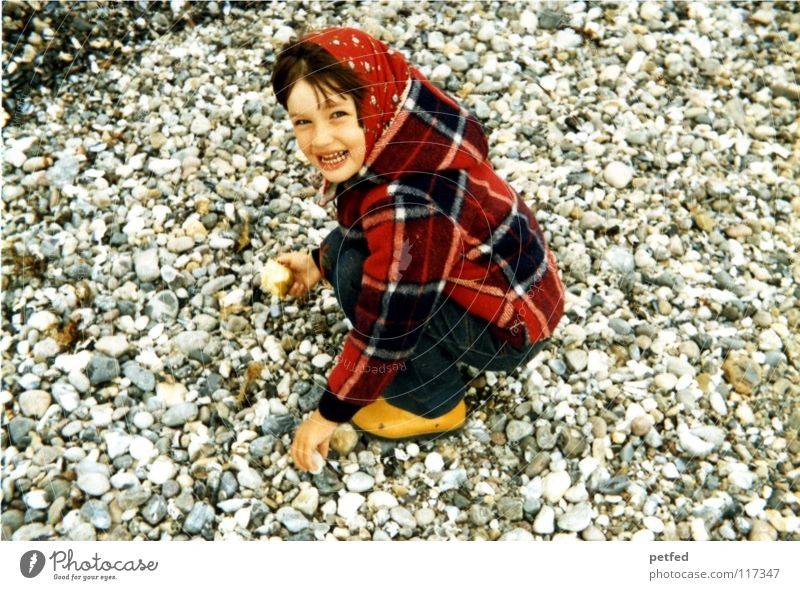 Human being Child Girl Ocean Joy Beach Vacation & Travel Life Relaxation Stone Wind Island Collection Seventies Former Fairy tale