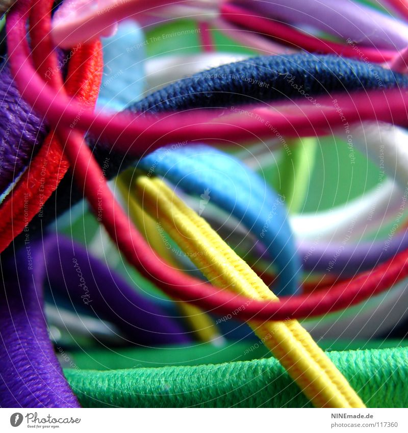 Blue White Green Red Yellow Funny Orange Together Pink Multiple Rope Electricity Decoration Cable Many Round